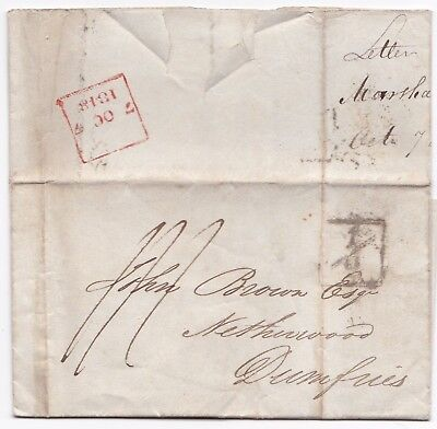 # 1818 RED LONDON BOXED LATE FEE PMK & ADDL½d GUPPY & MARSHALL TO JOHN BROWN