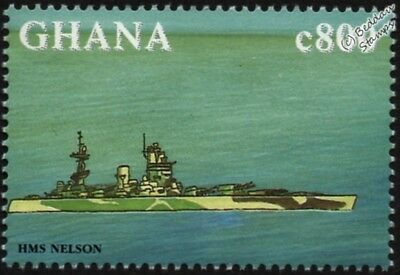 HMS NELSON (28) Battleship WWII Royal Navy Warship Ship Stamp (1998 Ghana)
