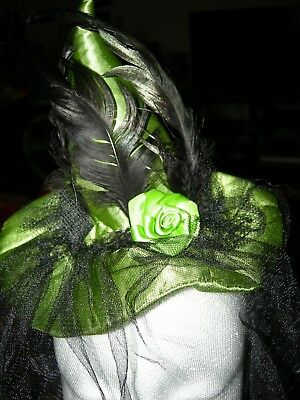 "Halloween Witch Hat Childs - Adults Headbands Green 5"" Tall Veil with Spiders"