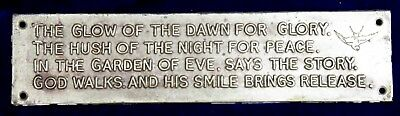 Very Rare Find Original Antique Plaque of Peom The glow of dawn for glory C1928