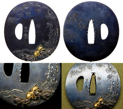 SUPERB Signed Ants TSUBA 19th C Japanese Edo Samurai Koshirae Antique F862