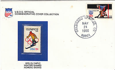 UNITED STATES 1976  WInter Olympics Cover Skiing*Stamp is MUH. Cover slight tone