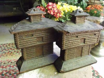 2 Old Primitive Vintage or Antique Fort Dearborn Chicago Book Ends Shabby Chippy