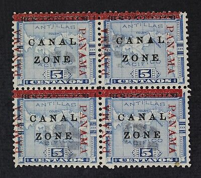 CKStamps: US Stamps Collection Canal Zone Scott#12 Block Used Panama Bottom Left