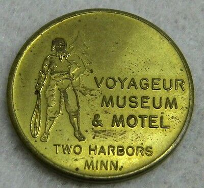 Good Luck Souvenir Token Coin VOYAGEUR MUSEUM & MOTEL Two Harbors Minnesota