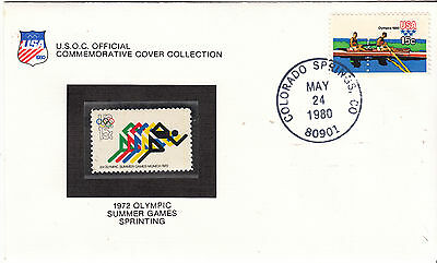 UNITED STATES 1972  Summer Olympics Cover Sprint Stamp is MUH Cover slight tone
