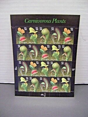 One (1) Sheet of CARNIVOROUS PLANTS 34 ¢ US PS Postage Stamps 20 in total New