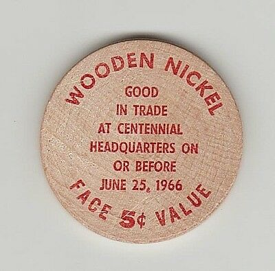 Wooden Nickel Millville N.j. Centennial 1866-1966 Good For Trade 5 Cents