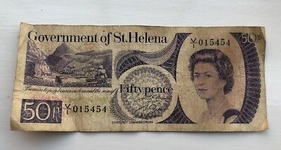 Hard To Find St Helena Vintage 50P Note - 015454 -British