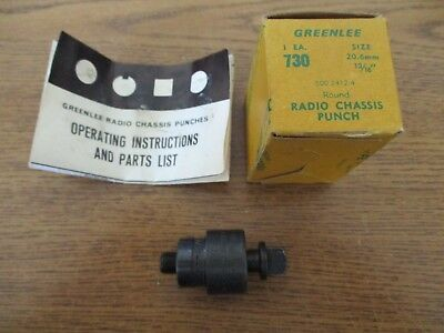 "VINTAGE GREENLEE NO. 730 1 3/16"" ROUND RADIO CHASSIS PUNCH w/BOX and Pamphlet"