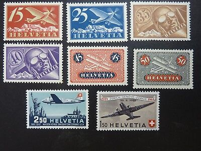 Swiss Airmail stamps x 8 in very fine condition mint mostly hinged
