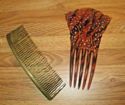 Hair combs vintage wire and plastic lot of 2 hair combs