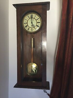Antique Single Weight Vienna Wall Clock  With Second Hand