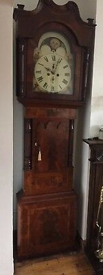Stunning  Antique Longcase Clock Blundell Liverpool Moon Phase Hand Painted