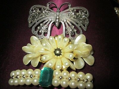 Vintage Hair Barrettes Butterfly imitation pearls lot