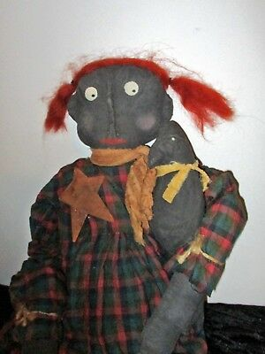 "29"" Black painted muslin head & limbs-cloth body-holding a crow- red hair OOAK"