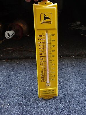 "Vintage 13"" John Deere Thermometer Black/Green/Yellow (French) c'est tout dire"