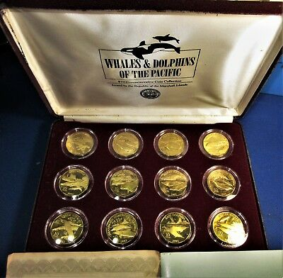 12-Coin Set MARSHALL ISLANDS Marine Life 1993 COMMEMORATIVE $10 WHALES, DOLPHINS