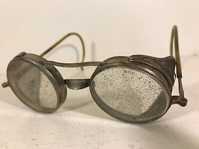 50s Vintage Welding Aviator Motorcycle Glasses w/ Wings glass