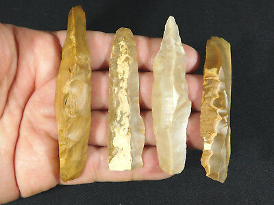 Lot of 4 BIG 9,000 to 4,000 Year Old Lithic Arifacts Bir Gandus Morocco 44.1gr e