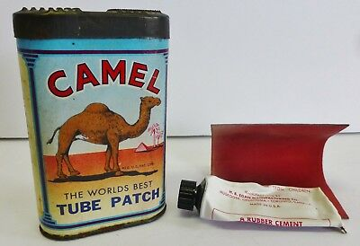 Vintage Camel Tube Patch Advertising Cardboard and Tin Kit 1946