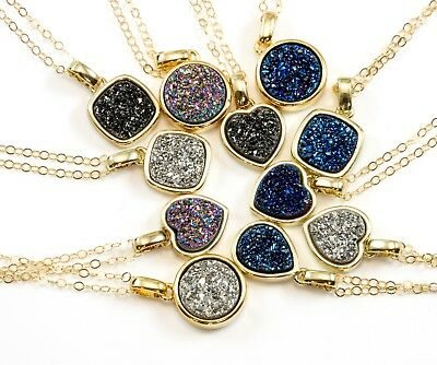 Drusy Pendant Necklace 14k Gold Fill Small Dainty Black Purple Silver Blue 20 In