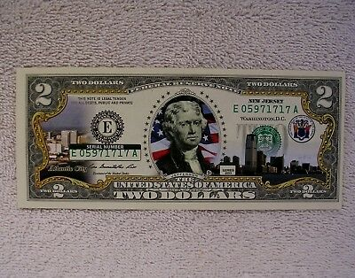 New Jersey  $2 Two Dollar Bill - Colorized State Landmark Uncirculated Authentic