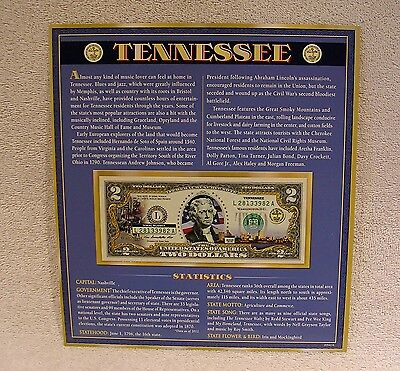 Tennessee  $2 Two Dollar Bill - Colorized State Landmark  Uncirculated Authentic
