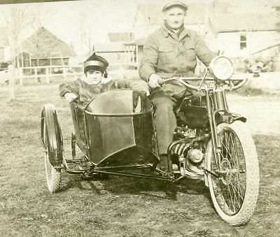 Vintage 1914 Henderson Motorcycle with a Rogers sidecar RPPC Postcard