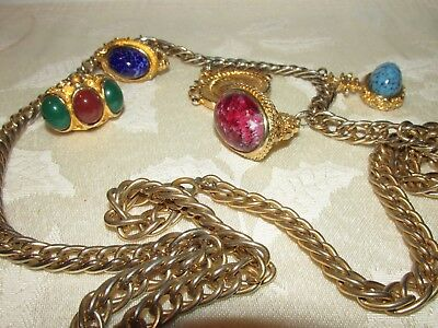 Vintage Gold Chain Belt with Cabochon, Roman Coin Style Dangles