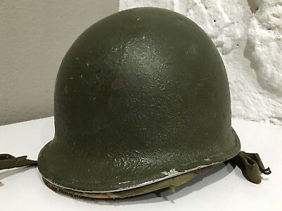 Vintage 40's WWII US M1 Helmet  Fixed Bale Front Seam & Hawley Fiber Liner ID'D
