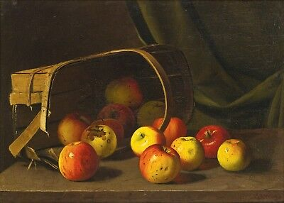 "13""x19"" framed art canvas print basket of fruits red yellow apples still life"
