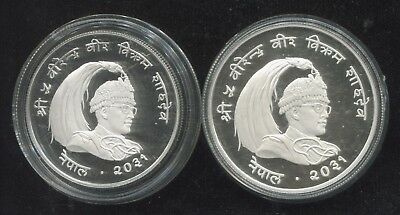 1974 Nepal Proof Sterling Silver 25 Rupee KM# 839a & 50 Rupee KM# 841a Coins!