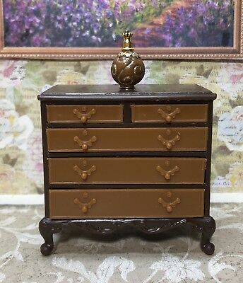 Lovely 5 DRAWER CHEST Vintage Tin Dollhouse Furniture Ideal Renwal Plastic 1:16