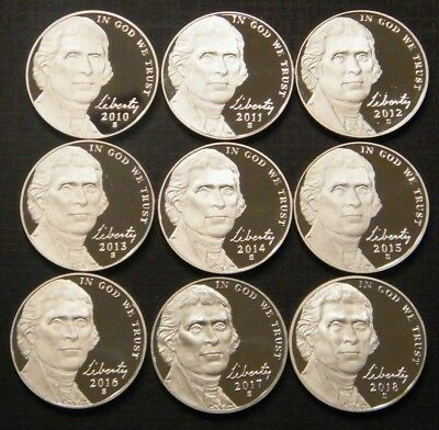 2010-2018 S Jefferson Nickel Gem DCam Proof Run 8 Coin Decade Run US Mint Lot..