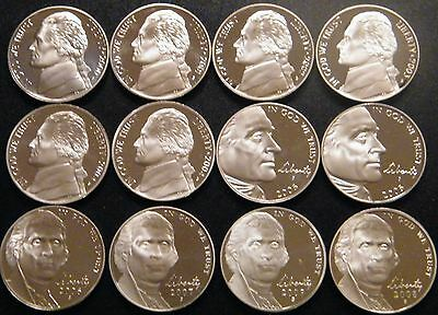 2000-2009 S Jefferson Nickel Gem DCam Proof Run 12 Coin Decade Run US Mint Lot.