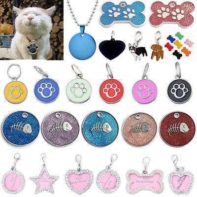 Rhinestone Crystal Pet Puppy ID Tag Collar Neck Personalized Dog Cat Name Charms