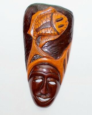 Haitian wooden mask . Simby Dlo ( Guardian of the river) 11x23 brown-black