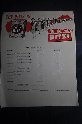 *VINTAGE* The Vote is in the Bag for Ritz Crackers Sales Receipt