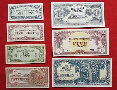 WW-II  Malaysia and Singapore - Lot of 7 Different JIM Japanese Invasion Money