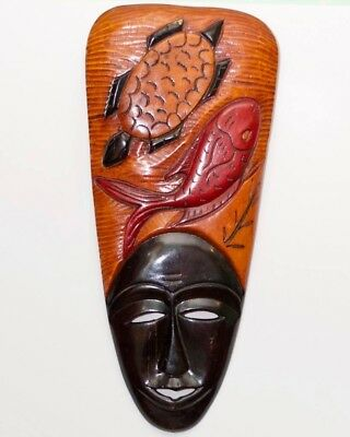 HAITIAN WOODEN MASK. SIMBI DLO (guardian of the fountains) 10x24 Black-red brown