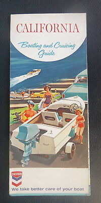 1965 California Boating and Cruising Guide  road map Chevron map gas