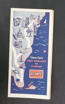 1958 New England to Florida road map Atlantic oil primary routes