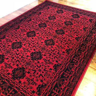Dalia Classic Traditional Hall Runner Rug Traditional Red Black 8 Metres Long