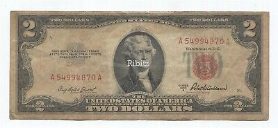 US Legal Tender $2 Dollars Note - 1953-A - Red Seal - A54994870A