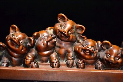 Chinese old Collectible Boxwood Handwork Blessing 7 little Pigs rare Statue