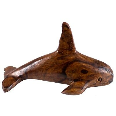 "Hand Carved Wood Wooden Ironwood Orca Whale Figurine 3.25"" Long Made In USA"