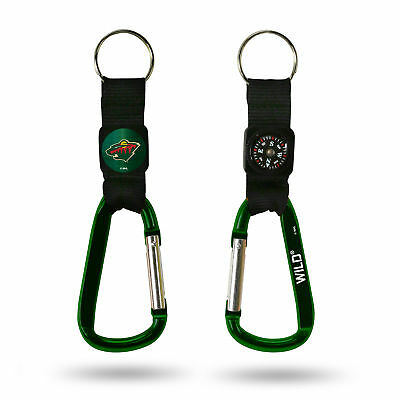 Minnesota Wild Official NHL Carabiner Key Ring Keychain Nvigational Compass Rico