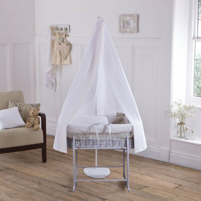 Clair De Lune 6pc Grey Wicker Moses Basket & Drape Set Waffle White