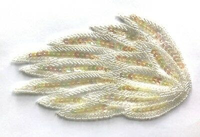 "Pair of Large 6"" Angel Wings Beaded Sequined Sew-On Applique Craft Patch VTG"